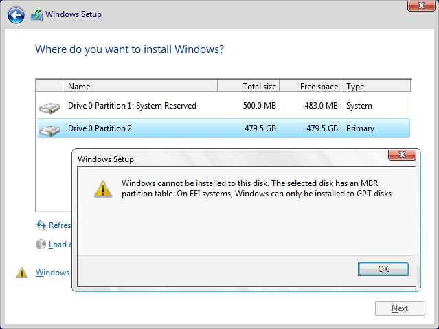 Windows cannot be installed to this disk. The selected disk has an MBR partition table. On EFY system, Windows can only be installed to GPT disks.